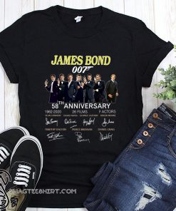 58th anniversary james bond 007 1962-2020 26 films 7 actors signatures shirt