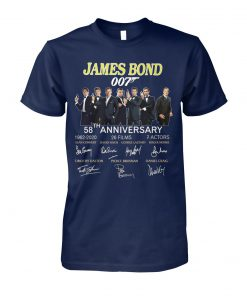 58th anniversary james bond 007 1962-2020 26 films 7 actors signatures unisex cotton tee