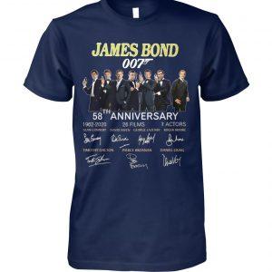 58th anniversary james bond 007 1962-2020 26 films 7 actors signatures unisex cotton tee