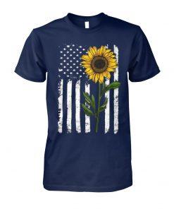American flag sunflower hippie distressed unisex cotton tee