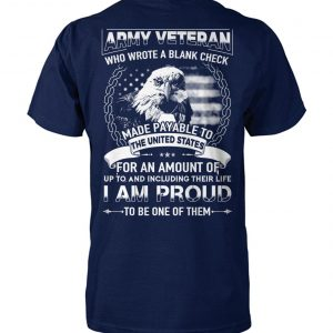 Army veteran who wrote a blank check made payable to the united states unisex cotton tee