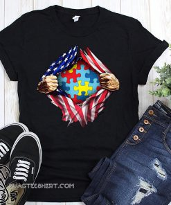 Autism awareness inside USA flag shirt