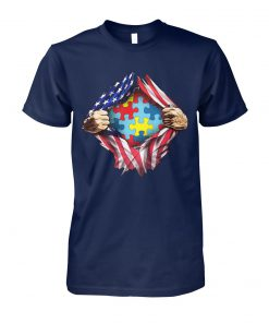 Autism awareness inside USA flag unisex cotton tee