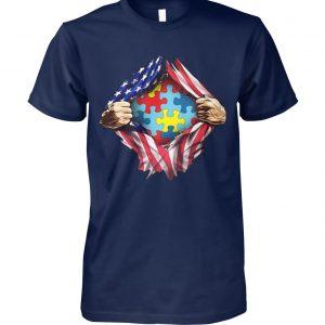 Autism awareness inside USA flag unisex cotton tee