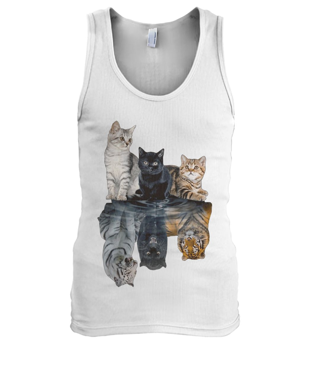 Cats reflection tigers men's tank top