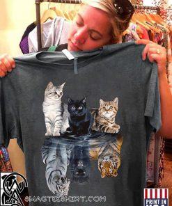 Cats reflection tigers shirt