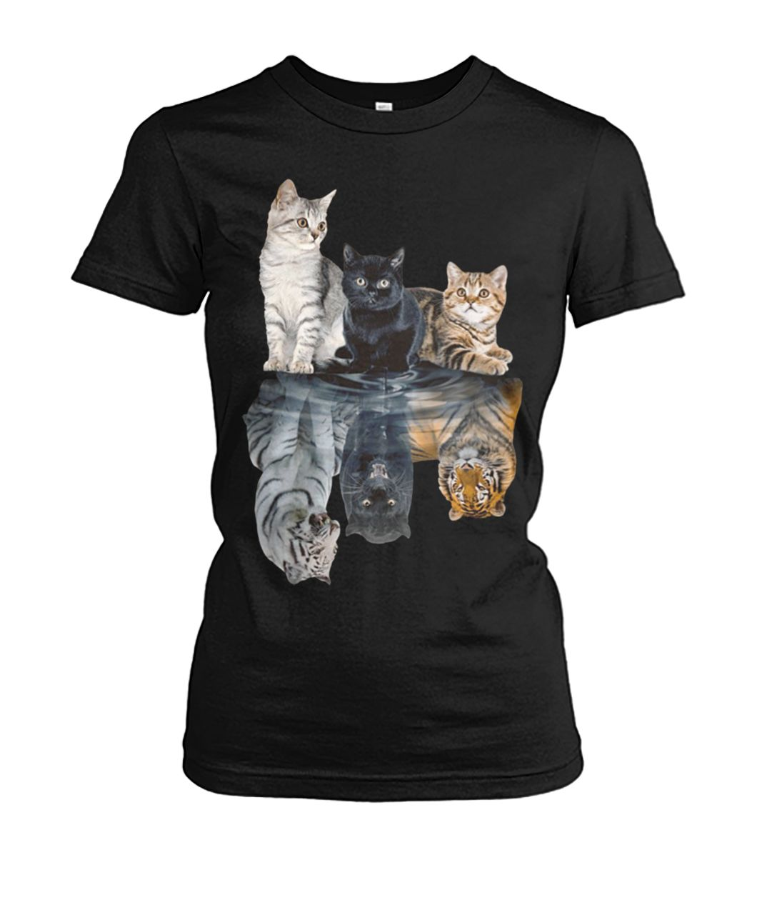 Cats reflection tigers women's crew tee