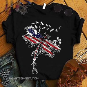 Dragonfly american flag 4th of july shirt