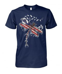 Dragonfly american flag 4th of july unisex cotton tee