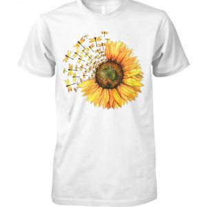 Dragonfly sunflower unisex cotton tee