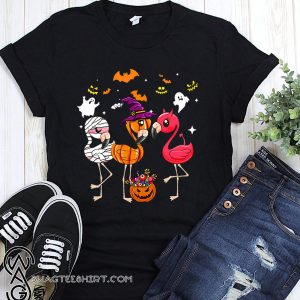 Flamingo halloween pumpkin witch ghost shirt