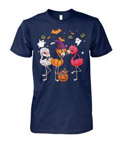 Flamingo halloween pumpkin witch ghost unisex cotton tee