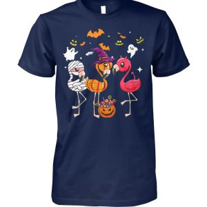 Flamingo halloween pumpkin witch ghost unisex cotton tee