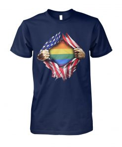 Gay pride flag inside american flag unisex cotton tee