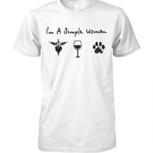 I'm a simple woman I love Jesus wine and dog unisex cotton tee