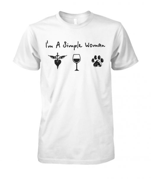 I'm a simple woman I love Jesus wine and dog unisex cotton tee
