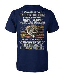 I am a grumpy old marine veteran I served I sacrificed I don't regret unisex cotton tee