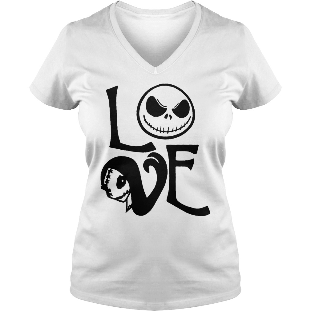 Nightmare before christmas jack and sally love lady v-neck