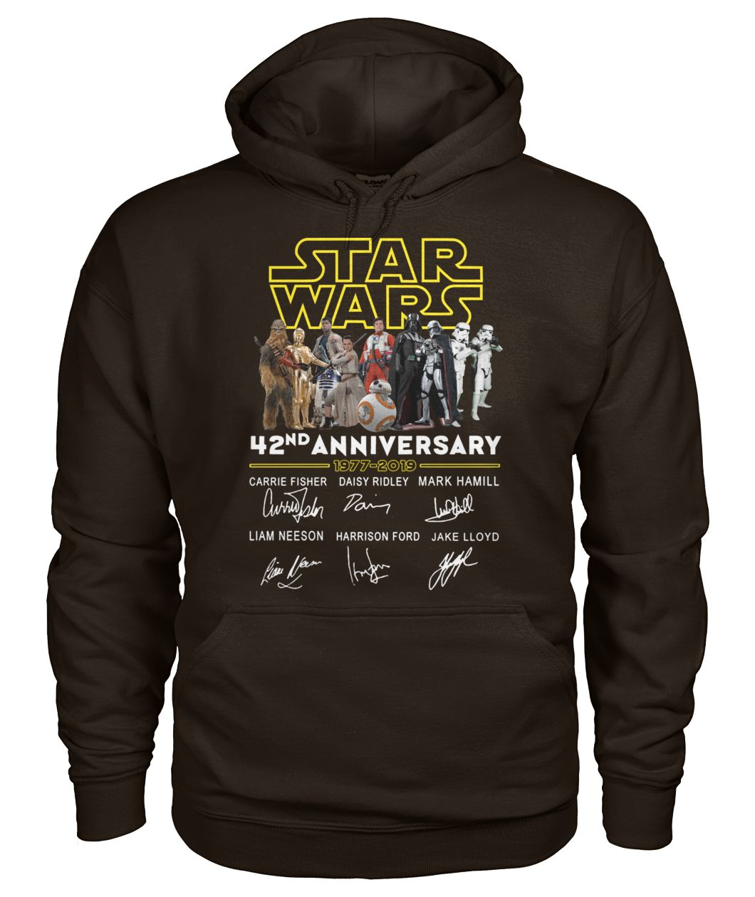 Star wars 42nd anniversary 1977-2019 signatures gildan hoodie