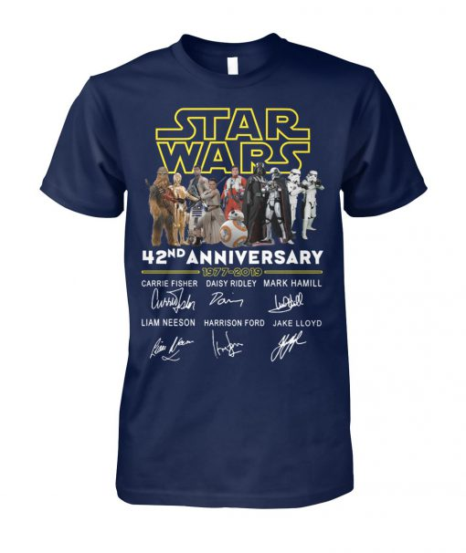 Star wars 42nd anniversary 1977-2019 signatures unisex cotton tee
