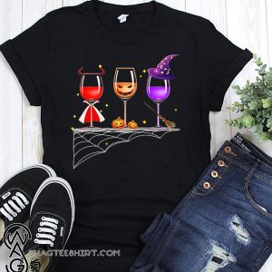 Three glasses of wine halloween shirt