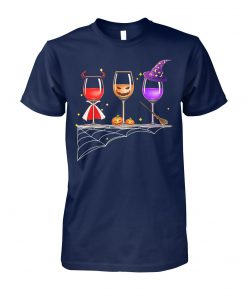Three glasses of wine halloween unisex cotton tee