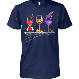 Three glasses of wine halloween unisex cotton tee