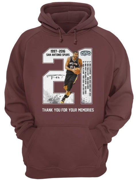 Tim duncan san antonio spurs 21 1977-2016 thank you for the memories hoodie