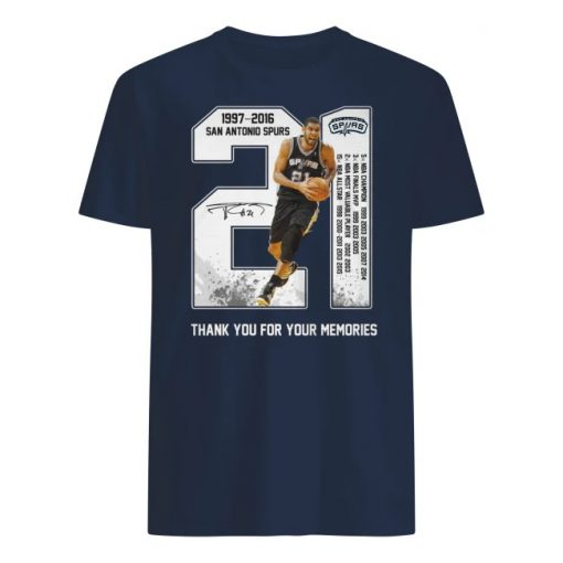 Tim duncan san antonio spurs 21 1977-2016 thank you for the memories men's shirt