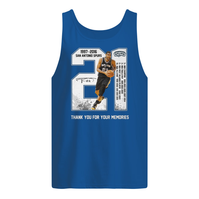 Tim duncan san antonio spurs 21 1977-2016 thank you for the memories men's tank top