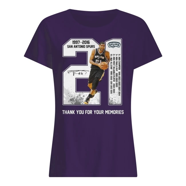 Tim duncan san antonio spurs 21 1977-2016 thank you for the memories women's shirt
