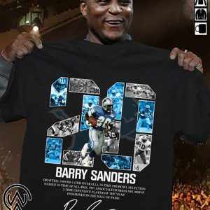 20 barry sanders detroit lions hall of fame signature shirt