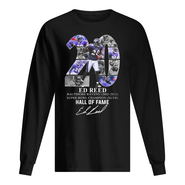 20 ed reed baltimore ravens 2002-2012 super bowl champion hall of fame signature long sleeved
