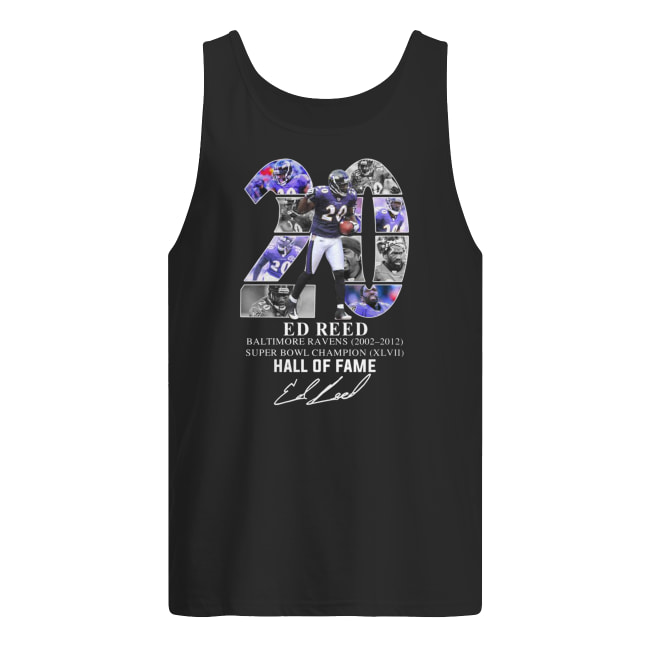 20 ed reed baltimore ravens 2002-2012 super bowl champion hall of fame signature men's tank top