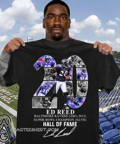 20 ed reed baltimore ravens 2002-2012 super bowl champion hall of fame signature shirt