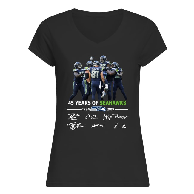 45 years of seahawks 1947-2019 signatures women's v-neck