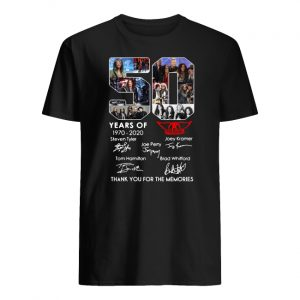 50 years of aerosmith 1970-2020 signatures thank you for the memories men's shirt