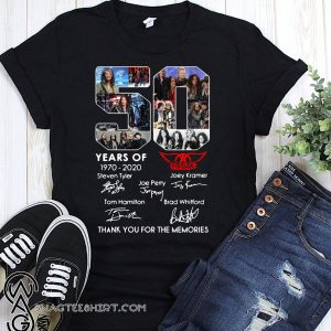 50 years of aerosmith 1970-2020 signatures thank you for the memories shirt
