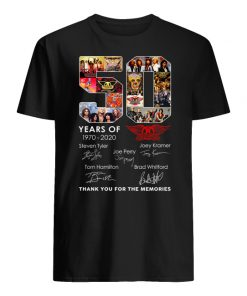 50 years of aerosmith 1970-2020 thank you for the memories signatures men's shirt