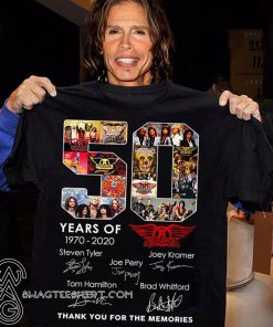 50 years of aerosmith 1970-2020 thank you for the memories signatures shirt