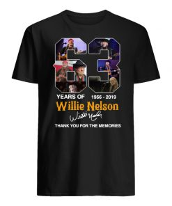 63 years of willie nelson 1986-2019 signature thank you for the memories men's shirt