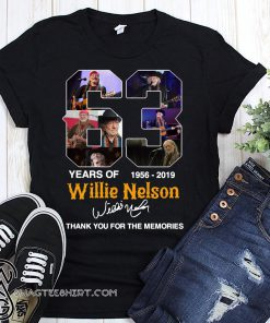 63 years of willie nelson 1986-2019 signature thank you for the memories shirt