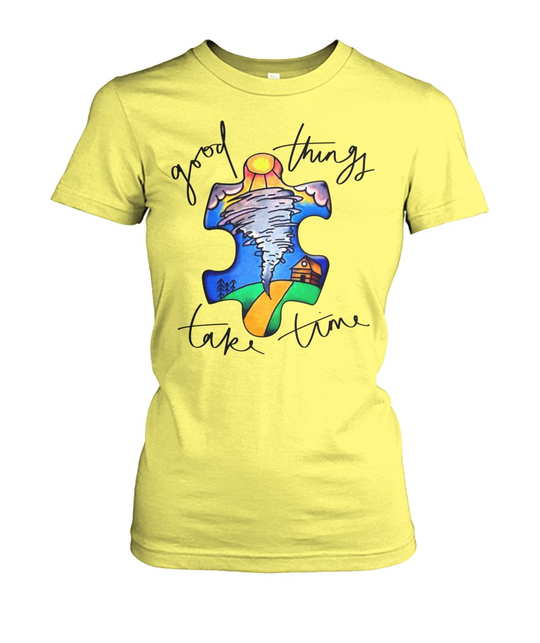 Autism awareness autism puzzle good things take time women's crew tee