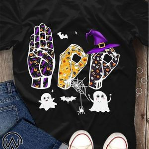 Boo asl sign language ghost halloween shirt