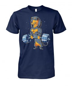 Dachshund weightlifting unisex cotton tee