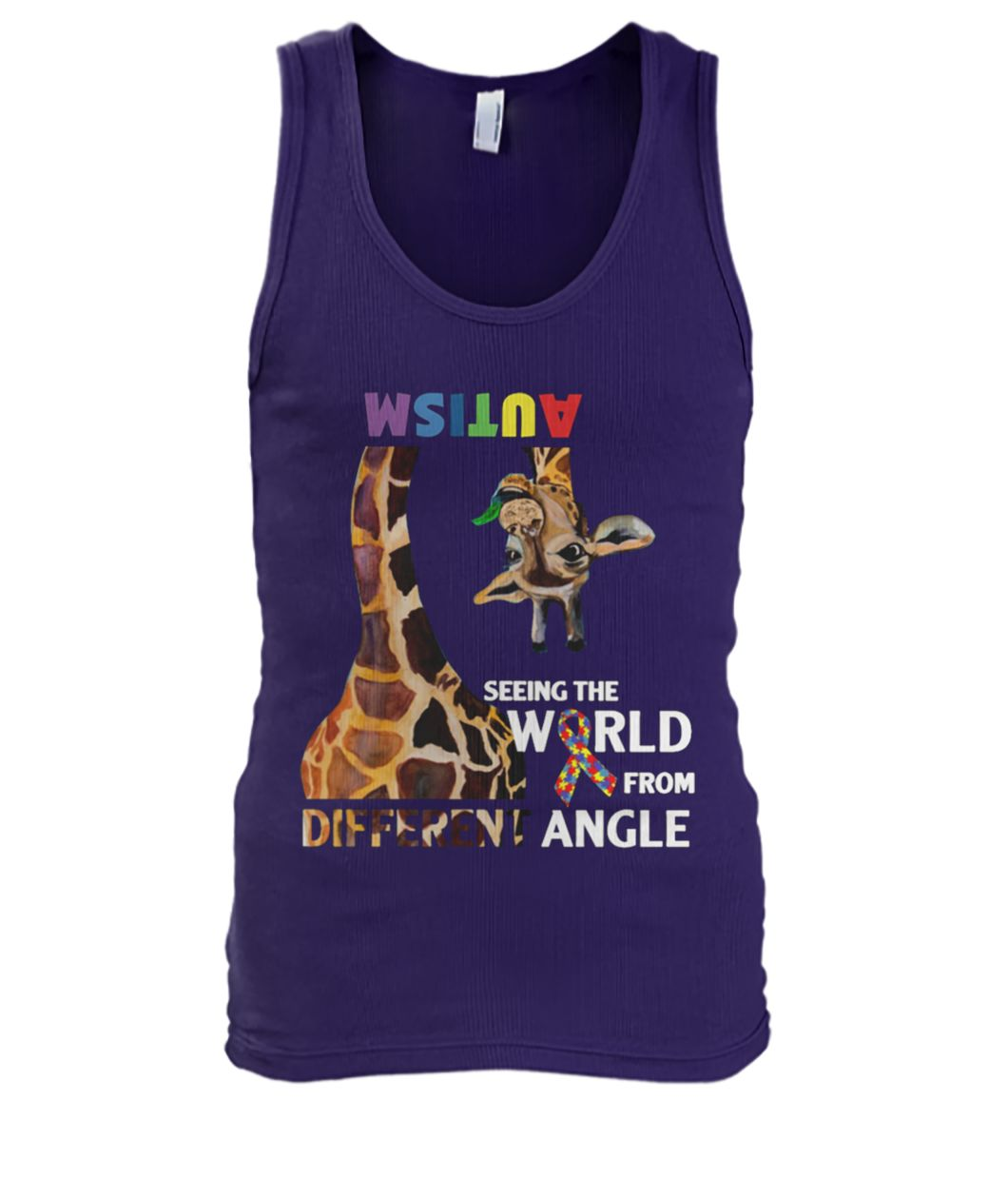 Giraffe autism seeing the world from different angle men's tank top