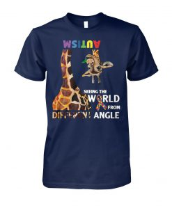 Giraffe autism seeing the world from different angle unisex cotton tee