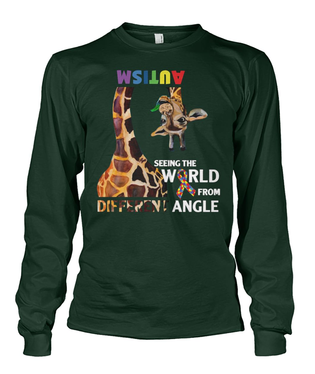 Giraffe autism seeing the world from different angle unisex long sleeve