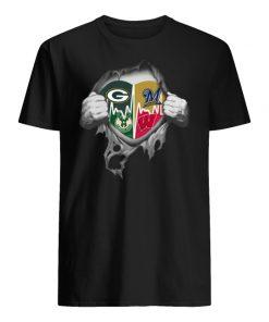 Green bay packers milwaukee brewers milwaukee bucks wisconsin badgers inside me men's shirt