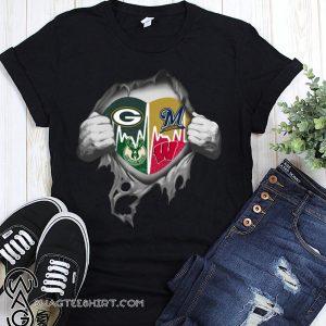 Green bay packers milwaukee brewers milwaukee bucks wisconsin badgers inside me shirt